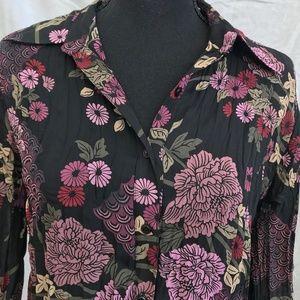 Button Down Apostrophe Black Floral Print Top